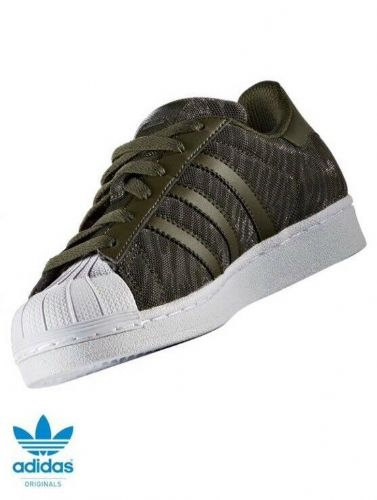adidas Originals Junior Superstar Glitter Trainers Olive Green  BB0314 New Boxed